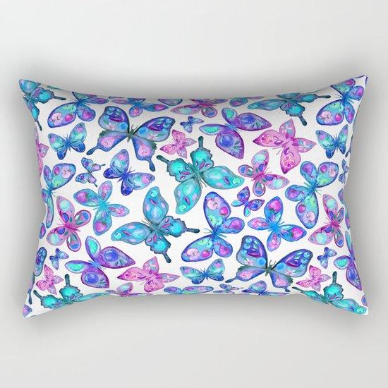 Watercolor Fruit Patterned Butterflies - aqua and sapphire Rectangular Pillow