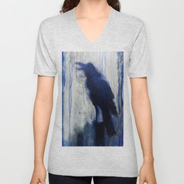 Contemporary Blue Raven Weather Abstract Painting  Unisex V-Neck