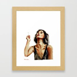 Smoking lady with cigaret with red lipstick on a lips, white background Framed Art Print