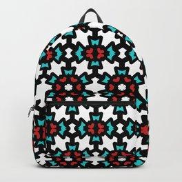 Red & Blue Rosette Pattern Backpack