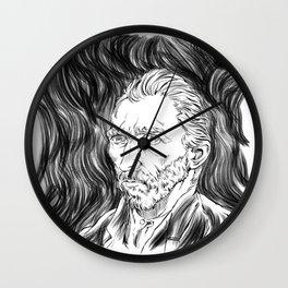 Van Gogh in black Wall Clock