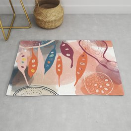 Pinks, Blues and Red Shapes  Rug