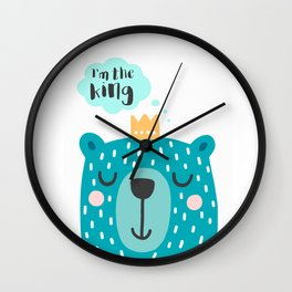 Cute Babies - I'm the king Clear Wall Clock