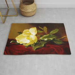A Yellow Magnolia on Red Velvet by Martin Johnson Head Rug