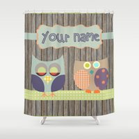 toddler Shower Curtains featuring Woden Art Print Owls Customize your Name infant baby children toddler room interior design by Lubo
