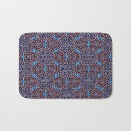 Gorgeous blue and orange beadwork inspired print Bath Mat