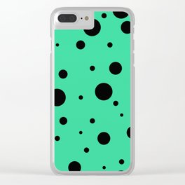 Black Bubbles On Green Clear iPhone Case