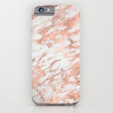 Marble - Pink Rose Gold Marble White Metallic Slim Case iPhone 6s