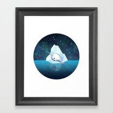 Baby Narwhal on Iceberg Framed Art Print