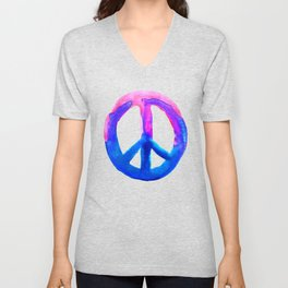 Watercolor Tie Dye Peace Sign Pink Blue on White Unisex V-Neck
