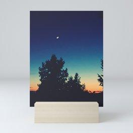Romantic Spring Evening - Moon & Sunset with Tree Line Mini Art Print