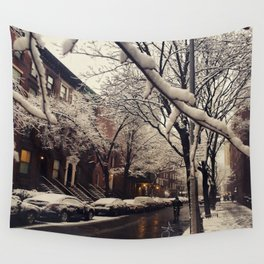 Photo of the beautiful Brooklyn Heights covered in icy snow Wall Tapestry