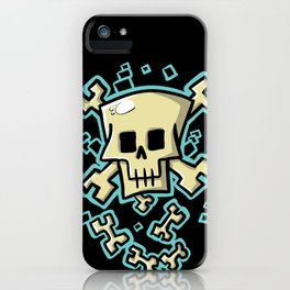 Toxic skull and crossbones blue iPhone Case