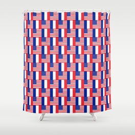 Mix of flag: france and usa Shower Curtain