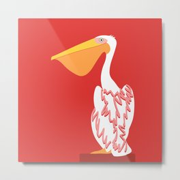 White Pelican Bird - animal graphic Metal Print