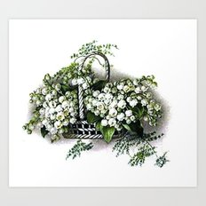Vintage Lily of the Valley Flower Basket Art Print