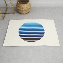 Prussian Blue Mid Century Modern Minimalist Scandinavian Colorful Stripes Geometric Pattern Round Ci Rug
