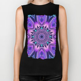 The floral kaleidoscope in pink, purple, blue and turquoise Biker Tank