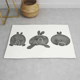 Bunny Butts - Black Palette Rug