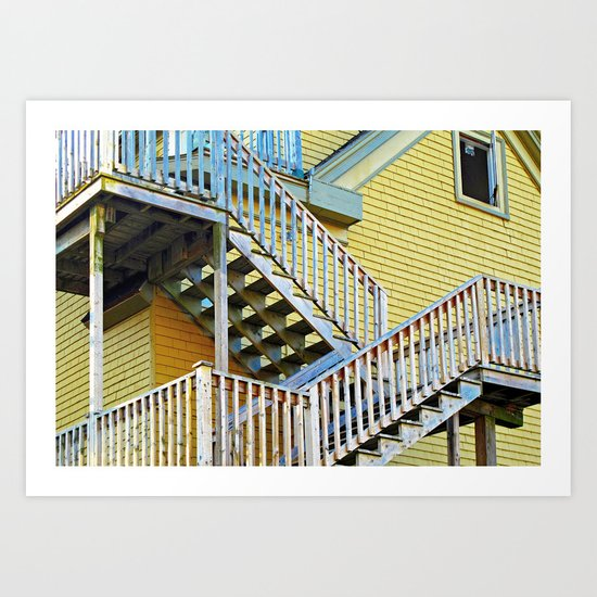 Staircase on a Yellow House  Art Print