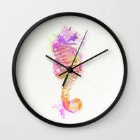 seahorse Wall Clocks featuring Seahorse by Allison Reich