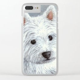 Dog 137 White Westie Clear iPhone Case