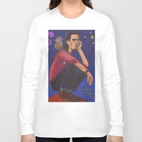 nick cave Long Sleeve T-shirts featuring Nick On The Roof by Anna Gogoleva