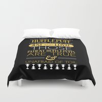 hufflepuff Duvet Covers featuring Hufflepuff by Dorothy Leigh