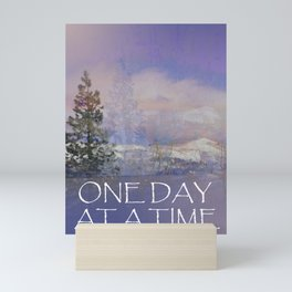 One Day at a Time Trees Hills Snow Mini Art Print