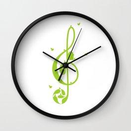 Treble clef and birds Wall Clock