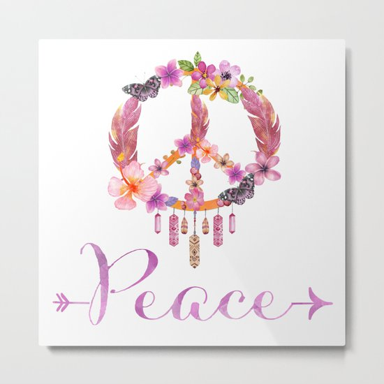 Peace Symbol Flower Power 70s Art Metal Print