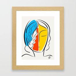 Graphic Minimal Portrait Design Orange Yellow and Blue Framed Art Print