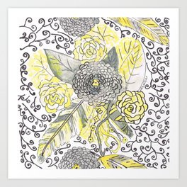 yellow and gray feathers Art Print