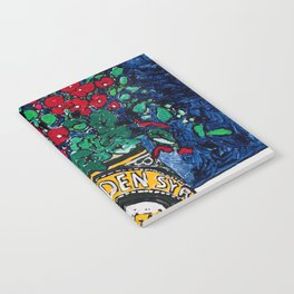 Wild Flowers in Golden Syrup Tin on Blue Notebook