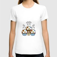 polkadot T-shirts featuring Cute Monster With Blue And Brown Polkadot Cupcakes by Mydeas