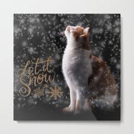 Vintage Christmas Postcard Collage Metal Print