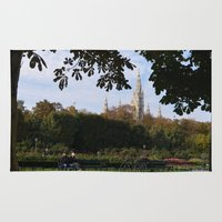 vienna Area & Throw Rugs featuring vienna volksgarten by Lisa Carpenter
