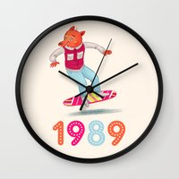 1989 Wall Clocks featuring 1989 by Laura Wood