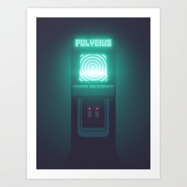 Polybius Arcade Game Machine Cabinet - Front Black Art Print