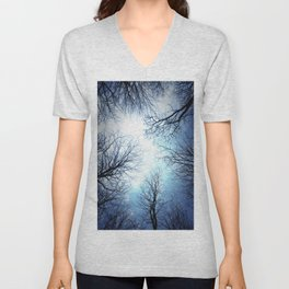 Black Trees Blue sky Unisex V-Neck
