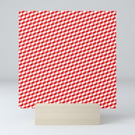 Sharkstooth Sharks Pattern Repeat in White and Red Mini Art Print