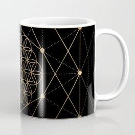 Flower of Life Black and Gold Coffee Mug