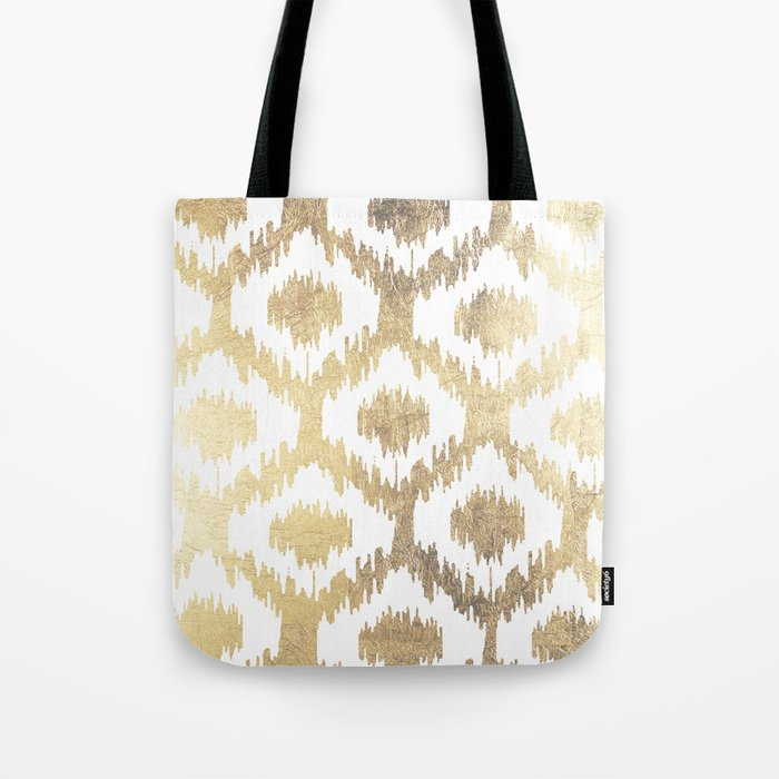 Modern white hand drawn ikat pattern faux gold  Tote Bag