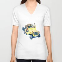 jeep V-neck T-shirts featuring Animal Jeep by Claire Sianna