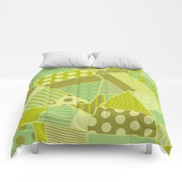Graphic Leaf Patchwork (Spring Green Bold Colors) Comforters