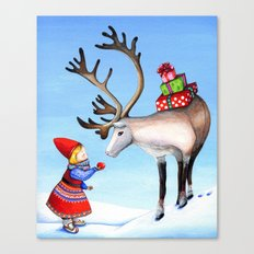 Reindeer and Little Girl Canvas Print