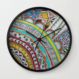 Bright, Colorful, Patterned Rays Wall Clock