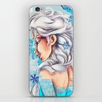 frozen elsa iPhone & iPod Skins featuring Elsa - Frozen by MissMachineArt