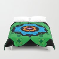 gaming Duvet Covers featuring Neon Gaming by Keely Durbin