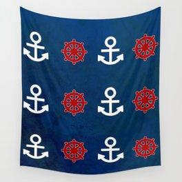 Anchor Ship Wheel Pattern Wall Tapestry